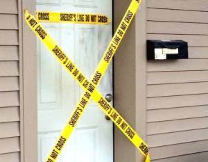 Crime scene tape at a Paulding apartment where a body was found on Tuesday. Photo courtesy of Melinda Krick/Paulding County Progress