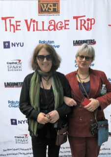 Our banner unfurled - Liz Thomson (right) and Liz Law pose for a quick photo in Washington Square Park