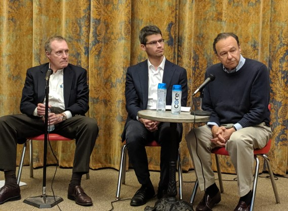 George Gibson of Grove Press, Jeremy Kutner of Pro Publica and Arthur Eisenberg of the ACLU discuss free speech (Liz Thomson