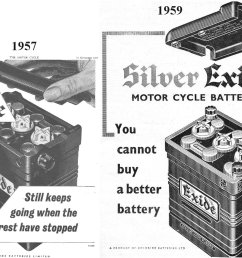 1957 and 1959 chloride batteries ltd exide battery ads i have always wondered why the empty battery case supplied by restoration suppliers did not seem  [ 1347 x 1013 Pixel ]
