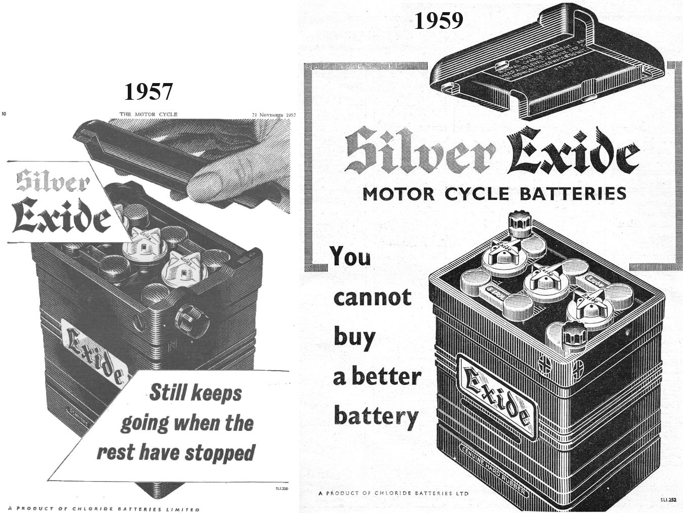 hight resolution of 1957 and 1959 chloride batteries ltd exide battery ads i have always wondered why the empty battery case supplied by restoration suppliers did not seem