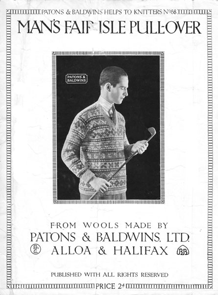 Vintage Mens Fair Isle knitting patterns available from