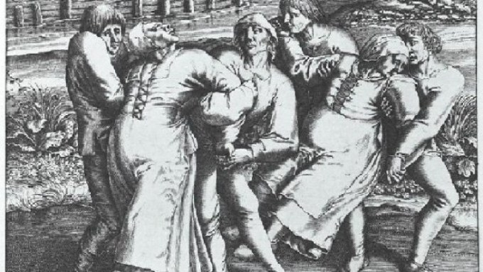 Engraving of Hendrik Hondius portrays three women affected by the plague. Work based on original drawing by Pieter Brueghel, a Renaissance painter, who supposedly witnessed a subsequent outbreak in 1564 in Flanders.