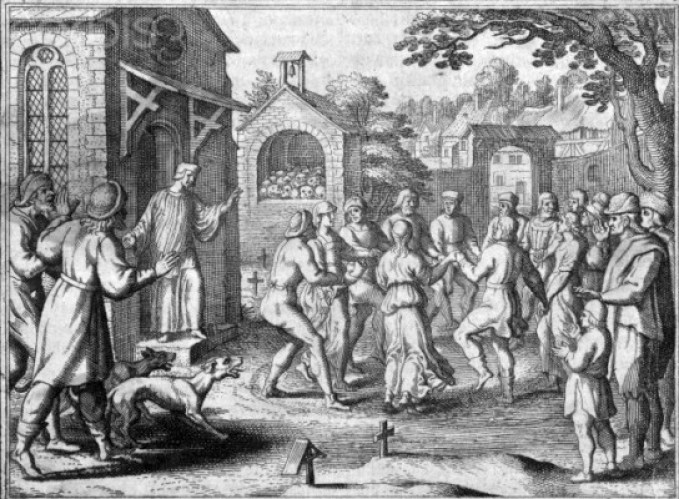 Ggroups of people caught up in 'dancing mania' or a 'dancing plague' .