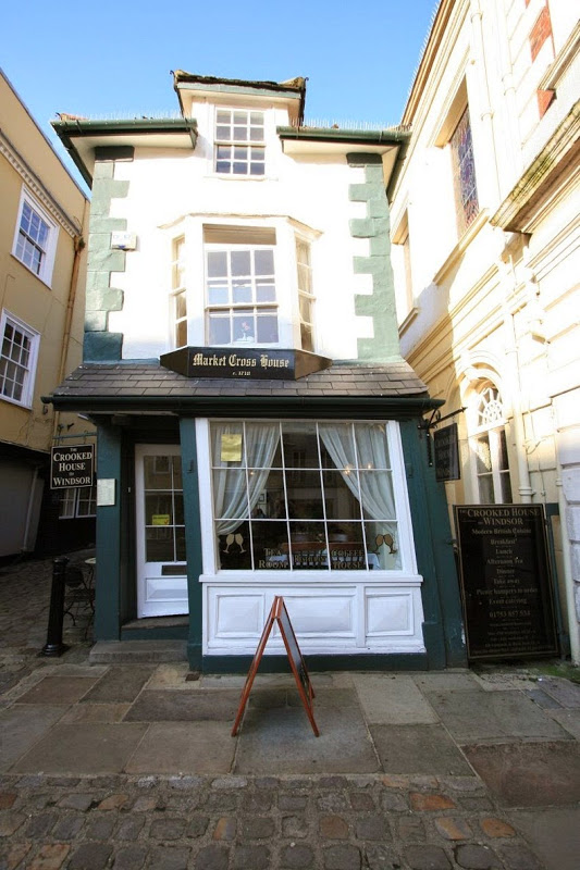 The Crooked House of Windsor The 17 Century gravity defying house was a butchershop and a Tea