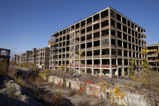 Western part of the abandoned Packard Automotive Plant in Detroit, Michigan.