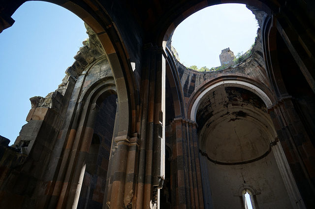 Inside the Cathedral of Ani. Construction of the structure began in 989, completed in either 1001 or 1010. Source
