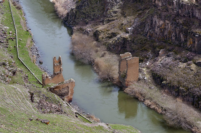Remains of an ancient bridge over Akhurian River, below Ani. Source
