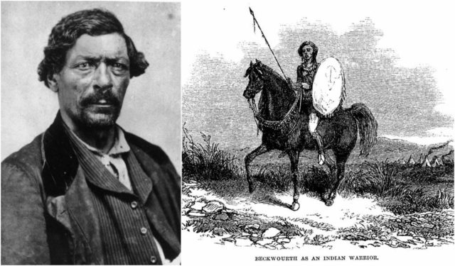 Left photo - James P. Beckwourth, circa 1860, in Denver, Kansas Territory. Wikipedia/Public Domain, Right photo - Beckwourth as Indian warrior, 1856. Wikipedia/Public Domain