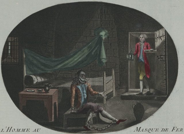 The Man in the Iron Mask. Anonymous print (etching and mezzotint, hand-colored) from 1789.. Photo Credit