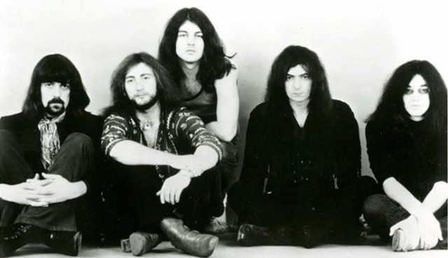 The classic Deep Purple line up, 1971. From left to right: Jon Lord, Roger Glover, Ian Gillan, Ritchie Blackmore, Ian Paice.