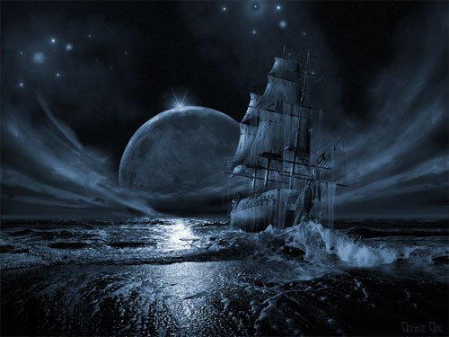 """Rising full moon."" From the series ""Ghost Ship."""