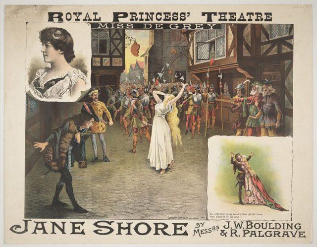 "Theatre poster for ""Jane Shore"" at Royal Princess' Theatre, Edinburgh, 14th December 1885"
