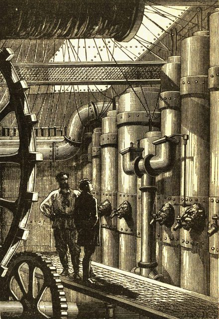 Original illustration of Jules Verne's Nautilus engine room.