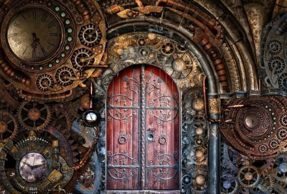 Pipes Steampunk Time Travel Gears Brass Door