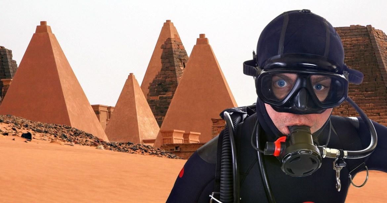 A diver next to the Sudan pyramids