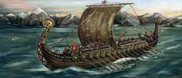 ڈان لاڈیر کلفز ، ناروے سے ایک سفر پر روانہ ہونے والی آٹھویں صدی کا وائکنگ ٹریڈنگ جہاز