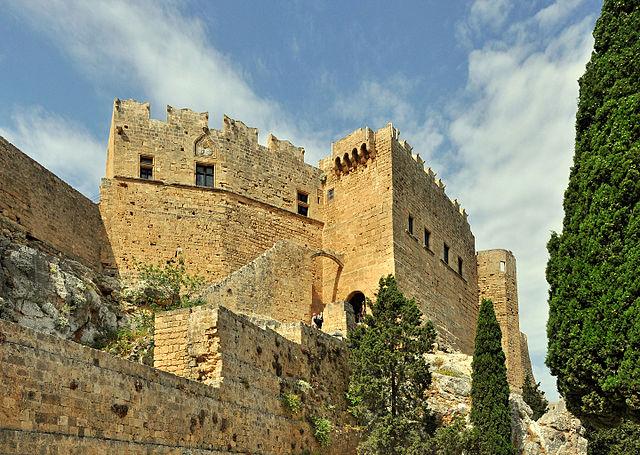 یونان میں لنڈوس کیسل کا بیرونی نظارہ