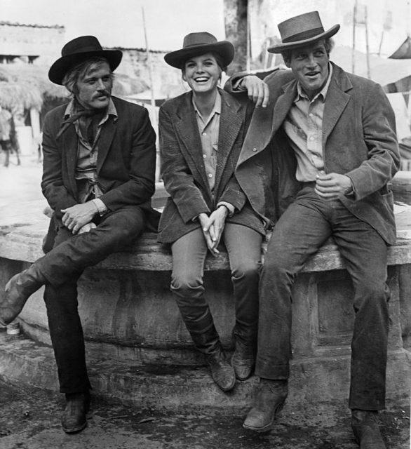 رابرٹ ریڈفورڈ ، کیتھرین راس ، اور پال نیومین فلم '' بُچ کیسڈی اینڈ دی سنڈینس کڈ '' ، 1969 کے ایک منظر میں۔