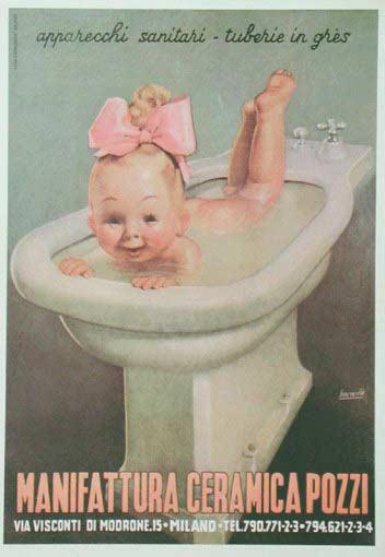 Baby in Bidet  Gino Boccasile  The Vintage Poster