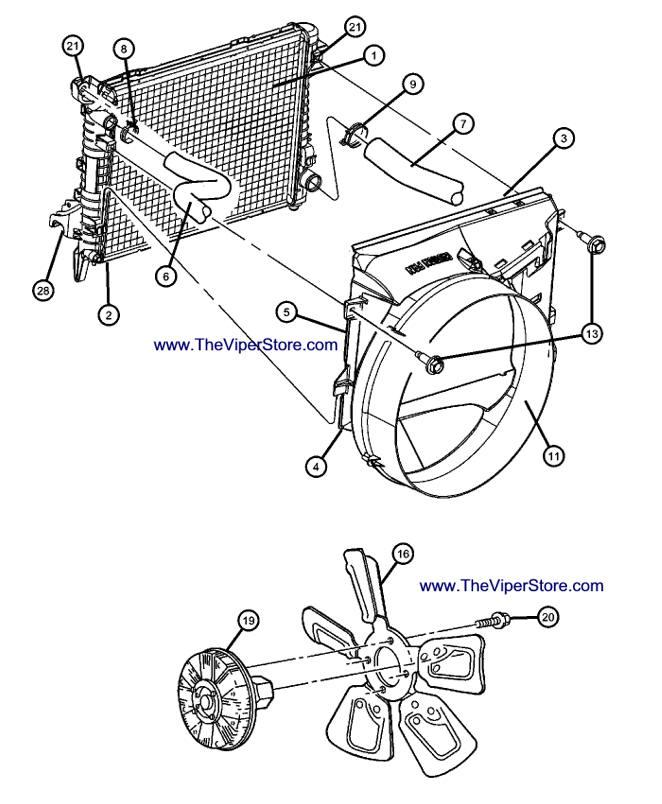 RAM SRT10 2004-2006 Factory Parts Diagrams Radiator & Fan