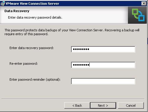 Horizon View Installation - Recovery Password