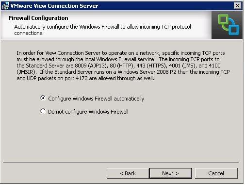 Horizon View Installation - Configure Firewall