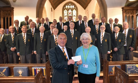 Cheddar Male Choir presenting cheque to Children's Hospice South West 2mb
