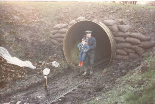 historical shot railway dirctor Tim Woron with his dad tunnel building