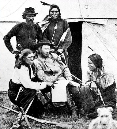back row John Buckman, Goose front row Bloody Knife, George Armstrong Custer, Little Soldier 1874