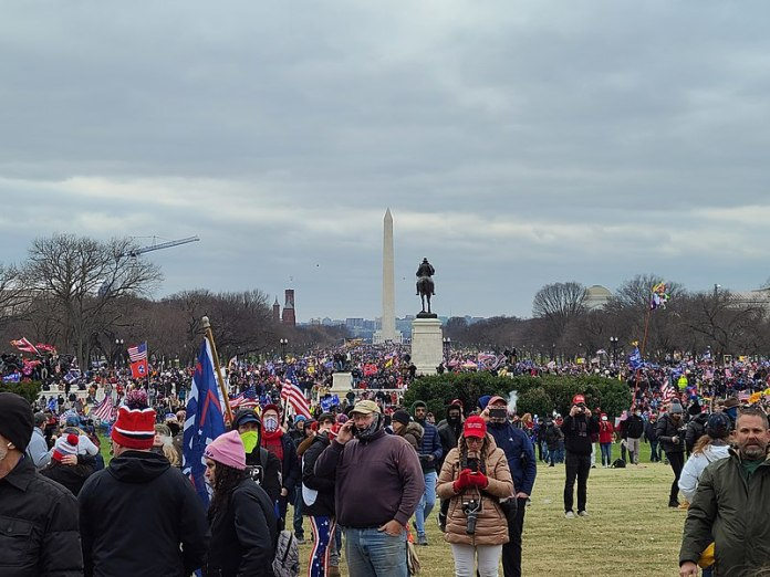 Protesters standing on the Capital Lawn after breaching the gates. Many more protesters remain in the national mall. Many allegations of Antifa instigating the breach have occurred. Image was taken by a peaceful protester who left when the violence started. (Photo by: Wikimedia Commons)