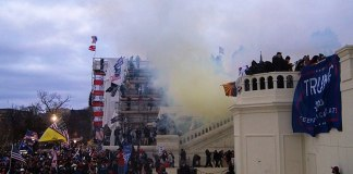Tear gas outside the United States Capitol on 6 January 2021 (Photo by: Tyler Merbler | Wikimedia Commons)