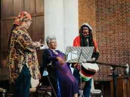 Artist performs at Wightman Chapel on Scarritt Bennett Center's Campus during the month of May's An Evening of Healing Sounds, Poetry, and Prayer. (Photo by: Alpha Artistry Films)