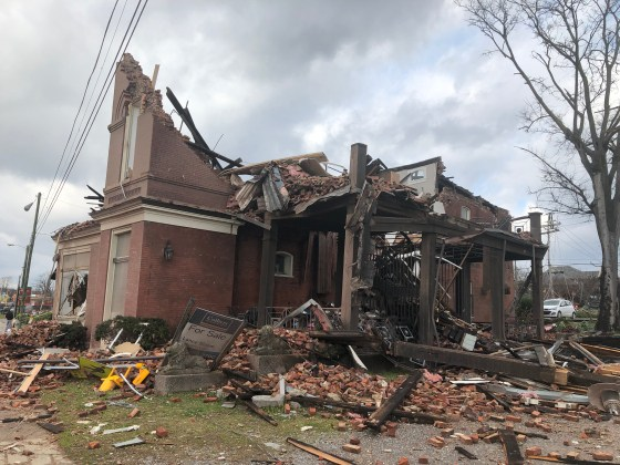 624 Jefferson Street, home of many businesses including Music City Cleaner, The Lab Nashville, and Events @ 624 was one of the most damaged buildings in Germantown. (Photo by: Jason Luntz)
