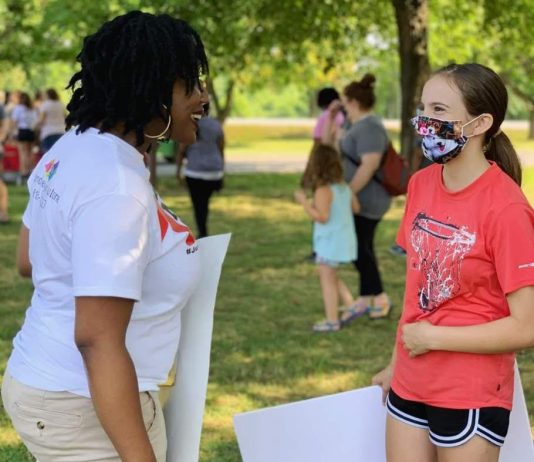 Jennifer Miller working with the community at the Hendersonville Peace Walk in June 2020 (Photo courtesy of facebook.com/jsmdiversityteam).