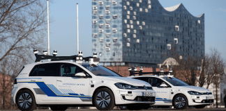 Five electric Volkswagen cars fitted with the latest in autonomous technology are now driving a section of Hamburg's streets.