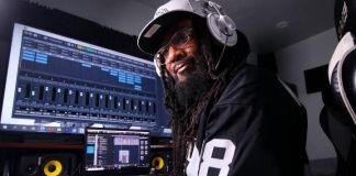 Shaleef Perkins, who writes and performs raps about the NFL's Las Vegas Raiders and its players, in the recording studio. (Nicholas Perkins)