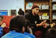 """""""We do a leadership group every Saturday, teaching life lessons like creating a budget, saving money, having good credit and forming good relationships,"""" said WBA welterweight champion Jamal James (center) of his involvement at the Circle Of Discipline in Minneapolis. (Courtesy of Jamal James)br"""