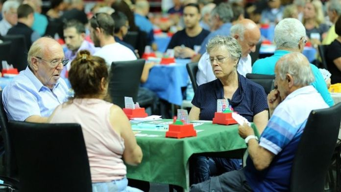 Bridge players at an international tournament. (Courtesy of the Israeli Bridge Association)