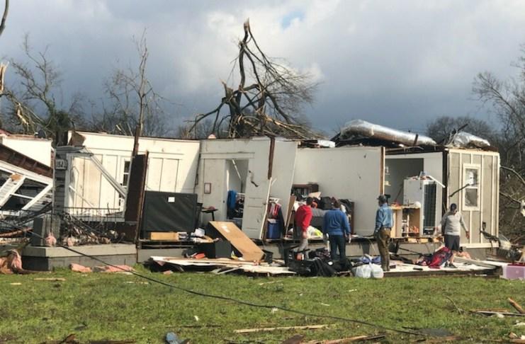 Tornado damage in North Nashville