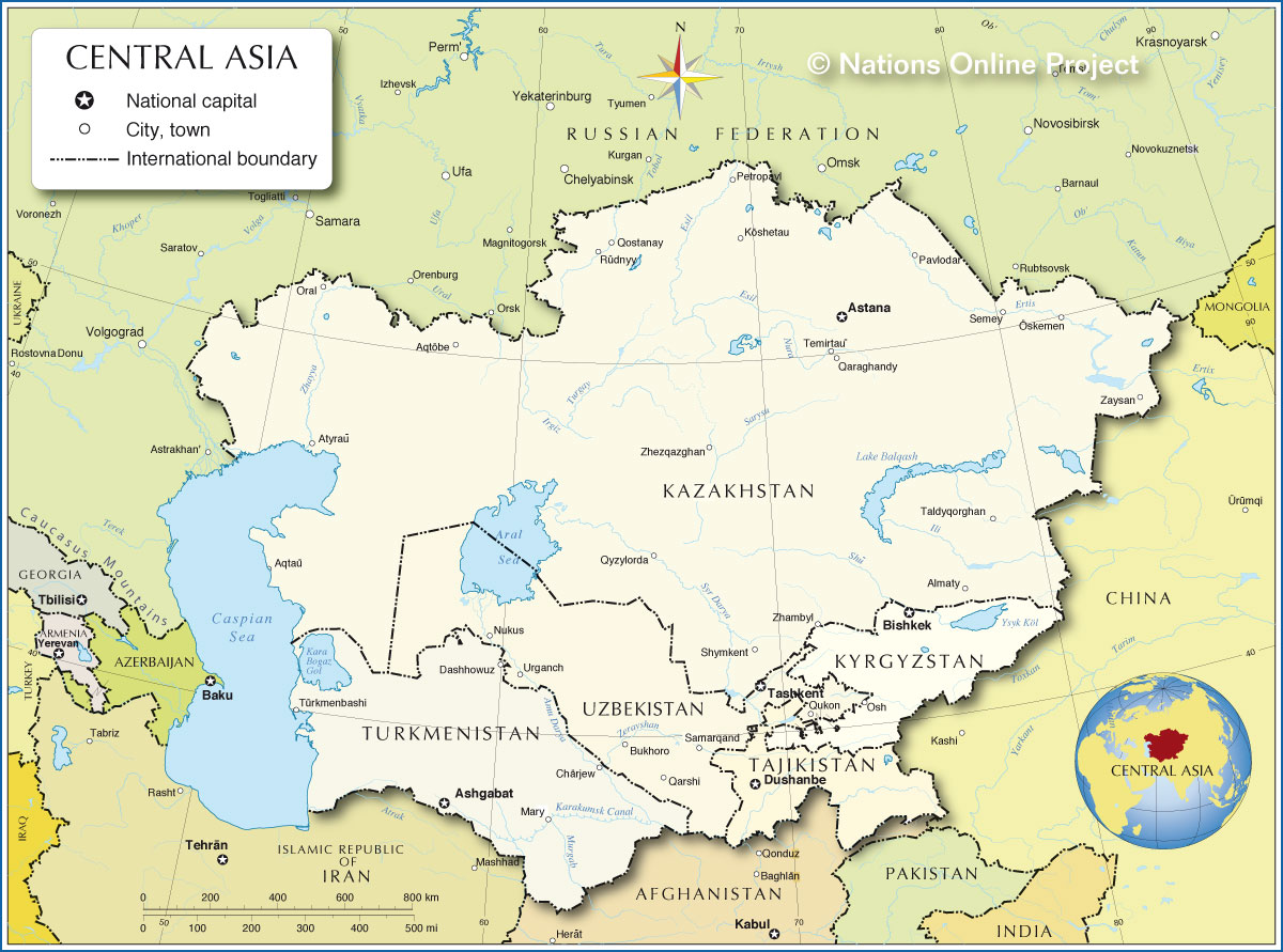 Political Map Of Central Asia And Caucasus