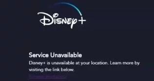 Service unavailable on Disney+