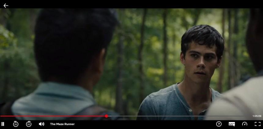 Here I am watching The Maze Runner on Netflix.