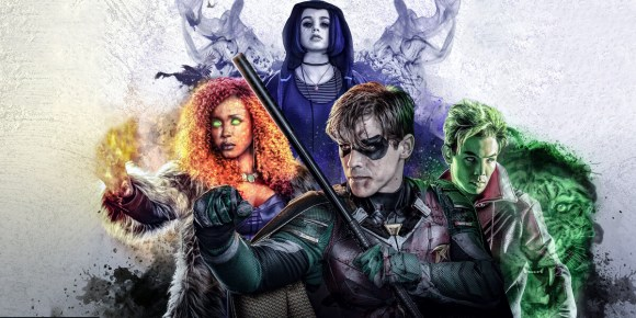 Picture of the Titans: Starfire, Raven, Robin and Beast Boy