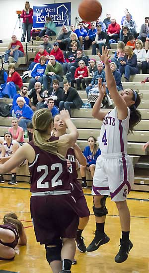 Crestview's Kennis Mercer (4) takes a shot during the Lady Knights' dominating win over Paulding on Thursday. (Bob Barnes/Van Wert independent)