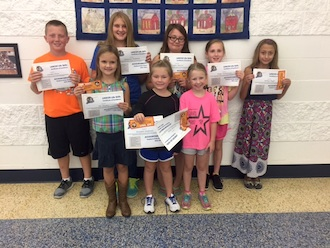 Lincolnview Elementary School announces the word of the week award winners.  Pictured are students who were chosen by their teachers for demonstrating Accountability.  Each child received a free kid's meal donated by Schlotzky's Bakery Café and a certificate of achievement. (Photo submitted.)