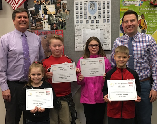 Congratulations to the Van Wert Elementary School students chosen for the Word of the Week award!  Pictured with Mr. Gehres, Principal, and Mr. Krogman, Assistant Principal, are students recognized for being appreciative.  Award winners this week are Allison, grade 1; Sasha, grade 2 (not pictured); Carter, grade 3; Rhiana, grade 4; and Fletcher, grade 5.  Each child received a free Mighty Kids Meal from our local McDonalds, a free taco from our local Taco Bell, and a certificate from WERT Radio. (Photo submitted.)