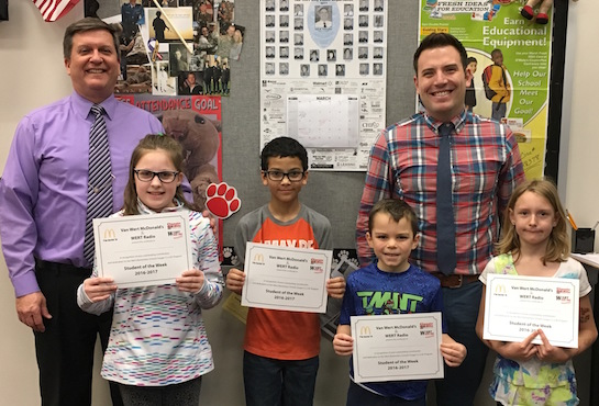 Congratulations to the Van Wert Elementary School students chosen for the Word of the Week award!  Pictured with Mr. Gehres, Principal, and Mr. Krogman, Assistant Principal, are students recognized for being determined and working to achieve their goals.  Award winners this week are Alex, grade 1; Aaliyah, grade 2; Arik, grade 3; Abi, grade 4; and Isabella, grade 5 (not pictured).  Each child received a free Mighty Kids Meal from our local McDonalds, a free taco from our local Taco Bell, and a certificate from WERT Radio. (Photo submitted.)