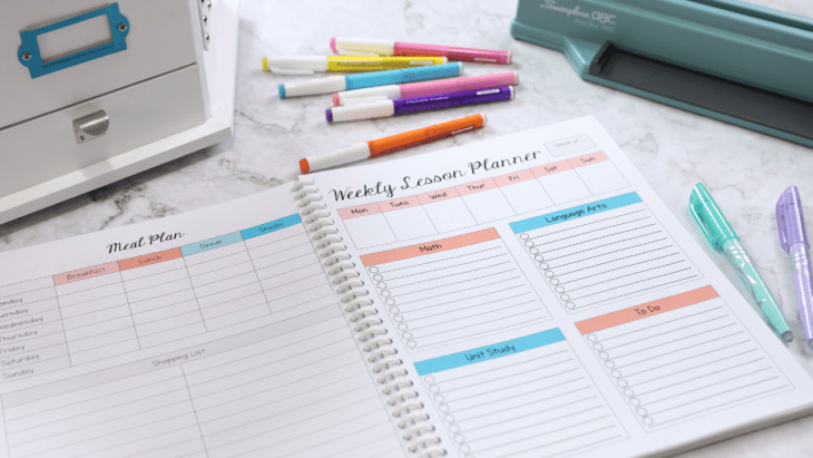 What I look for in a homeschool planner and how my setup helps me keep track of and work towards meeting our goals for the homeschool year.