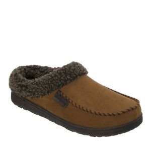 Men's Microsuede Moc Toe Clog with Berber Cuff